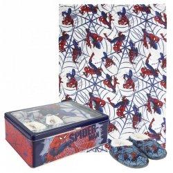 Zestaw prezentowy: koc polarowy, kapcie / pantofle i pudełko metalowe Spiderman : Rozmiar: - 30/31