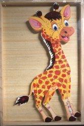 Puzzle drewniane w drewnianej ramie - żyrafa 26 el.