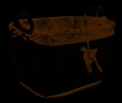 Czarny kosz wiklinowy z uchwytami i materiałem w kwiaty 40x31x27/33 cm