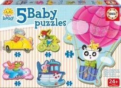 Puzzle dla dzieci - zwierzęta w pojazdach