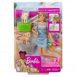 Mattel Barbie Kąpiel zwierzątek Lalka + Zestaw