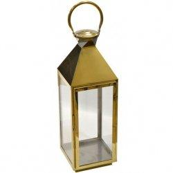 Latarnia dekoracyjna kopuła 23x23x70cm stal nierdzewna - złota