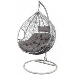 Fotel bujany Cocoon roz.xl z technoratanu szary biały