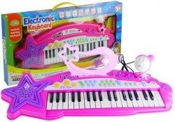 Keyboard Organki 37 Klawiszy MP3  Mikrofon Różowe