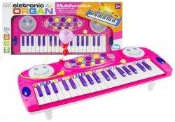 Keyboard na Nóżkach Pianinko z Mikrofonem Różowy