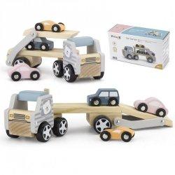 VIGA Drewniana laweta z samochodzikami
