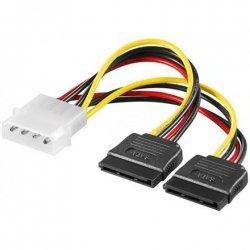 Logilink Internal Y-SATA Power Cable 4-pin 5.25, 2x 15-pin S-ATA, 0.13 m