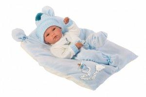 Lalka bobas Bimbo na błękitnej poduszce 63555 35 cm