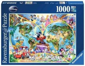 Ravensburger Polska Puzzle 1000 elementów Mapa z postaciaciami Disneya