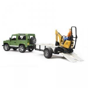 BRUDER Land Rover z przyczepą i mikrokoparką