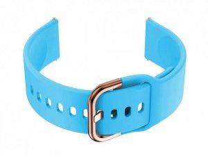 Pasek gumowy do smartwatch 18mm - niebieski/r.gold