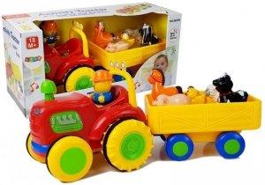 Traktor z Przyczepką, Zwierzętami Dla Niemowląt  na Baterie z Dźwiękiem