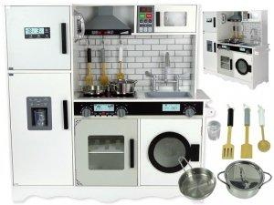 Kuchnia Drewniana Luna Biało- Czarna Akcesoria Płyta Mikrofalówka Okap Na Baterie Dźwięki