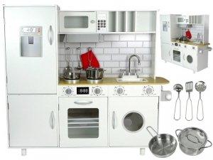 Kuchnia Drewniana Bianka Biała Sztućce Pralka Szafki Lodówka 102 cm Wysokości