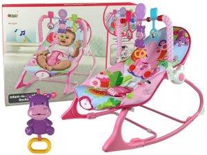 Kołyska Bujaczek Fotelik Krzesełko 2w1 Różowy Hipopotam Dźwięki Wibracja