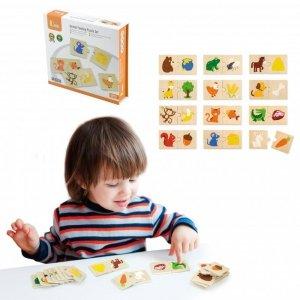 VIGA Drewniane Puzzle Nakarm Zwierzątko Co jedzą Zwierzęta Układanka