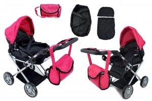 Wózek głęboki dla lalek  4 funkcyjny z torbą i pościelą 9346