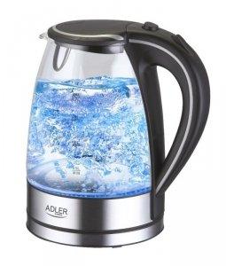 Kettle Adler Kettle AD 1225 Standard, Glass, Stainless steel/Black, 2000 W, 360° rotational base, 1.7 L