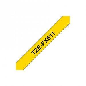 Brother TZe-FX611 Flexible ID Laminated Tape Black on Yellow, TZe, 8 m, 6 mm