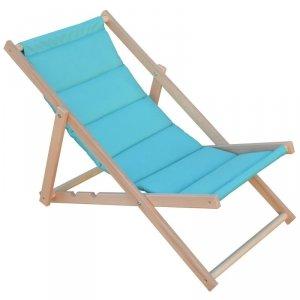 Leżak plażowy składany drewniany deluxe turkusowy Royokamp