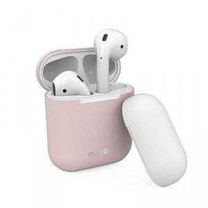PURO ICON Case - Etui Apple AirPods 1 & 2 generacji z dodatkową osłonką (Rose + White Cap)