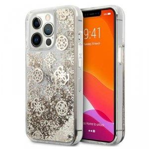 Guess Peony Liquid Glitter - Etui iPhone 13 Pro (złoty)