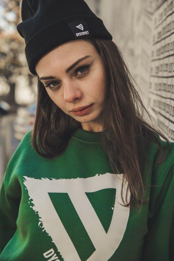 Bluza bez kaptura DYSTRYKT Czarna/Zielona