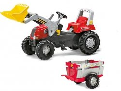 Rolly Toys Traktor Junior Czerwony z Przyczepą Łyż
