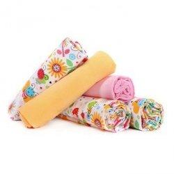 Lulando pieluszki flanelowe 70x80 pszczółki kolorowe/żółta/różowa 5 szt