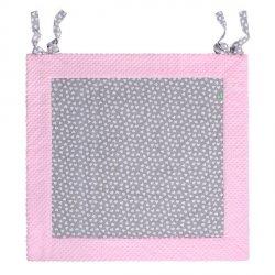 Lulando Mata do zabawy wodoodporna PLAY-MAT 120x120 szary w białe serca+różowy