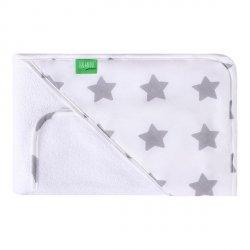 Lulando Ręcznik frotte biały + biały w szare gwiazdki