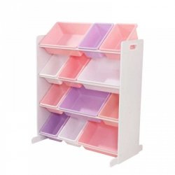 KidKraft Drewniany organizer 12 plastikowych pojemników - Pastelowa kolorystyka