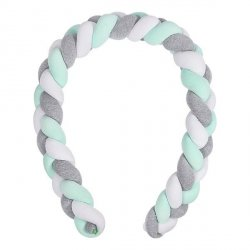 Lulando Ochraniacz- braid welur 300 cm - szary/mięta/biały