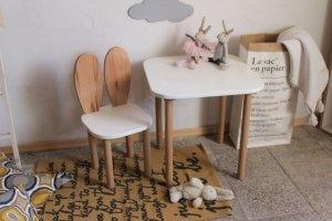 Komplet stoliczek kwadrat + krzesełko KRÓLICZE USZKA B różne kolory blatu i siedziska