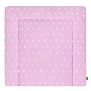 LULANDO Mata na przewijak 2 frotty 75x85 cm - Gwiazdki białe na różowym