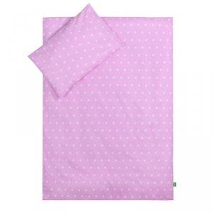 LULANDO Zestaw pościeli 40x60/100x135 cm - Gwiazdki białe na różowym + Chmurki szare na białym