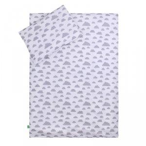 LULANDO Zestaw pościeli 40x60/100x135 cm - Chmurki szare na białym