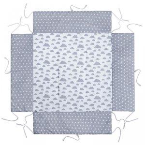 LULANDO Mata do kojca 100x100 cm - Szary w białe gwiazdki + Biały w szare chmurki