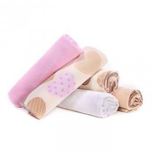 Lulando pieluszki flanelowe 70x80 serca różowe/biała/różowa 5 szt