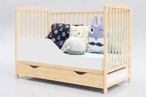 Łóżeczko niemowlęce 2w1 KACPER sosna 120x60 z szufladą