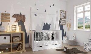 Łóżeczko niemowlęce tapczan 2w1 z szufladą 140x70 TIPI BARIERKA GRATIS