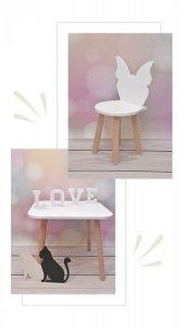 Komplet stoliczek biały i krzesełko Motylek białe