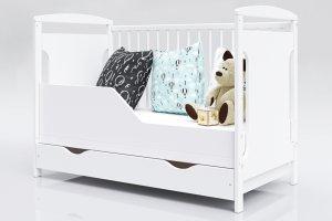 Łóżeczko niemowlęce 2w1 JAŚ biały 120x60 z szufladą
