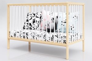 Łóżeczko niemowlęce tapczan 2w1 DOMINIK biało-sosna 120x60