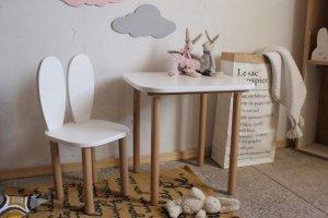 Komplet stoliczek kwadrat + krzesełko KRÓLICZE USZKA A1 różne kolory uszu, siedziska i blatu