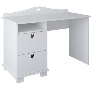 Białe biurko dziecięce SERCA z dwoma szufladami
