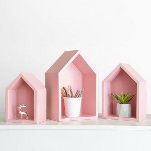 Półki DOMKI SCANDI Różowe zestaw