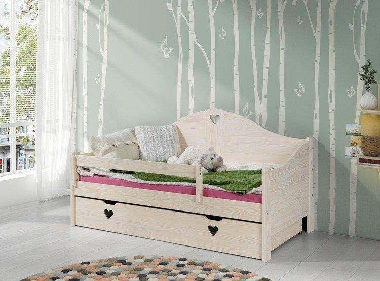 łóżko Dziecięce Zosia Dąb Bielony 160x80 Materac łóżka Pokój Dziecięcy