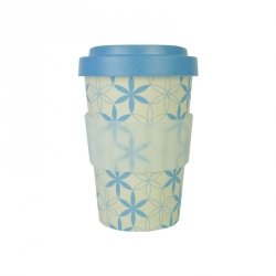 Kubek z bambusa WoodWay 400ml | GEOMETRIC FLOWERS blue