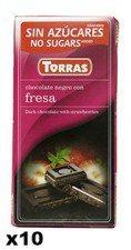 TORRAS gorzka czekolada bez cukru TRUSKAWKA 10x75g